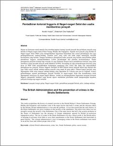 Pentadbiran Kolonial Inggeris Di Negeri Negeri Selat Dan Usaha Membentras Jenayah Ukm Journal Article Repository