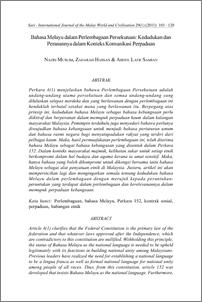Bahasa Melayu Dalam Perlembagaan Persekutuan Kedudukan Dan Peranannya Dalam Konteks Komunikasi Perpaduan Ukm Journal Article Repository