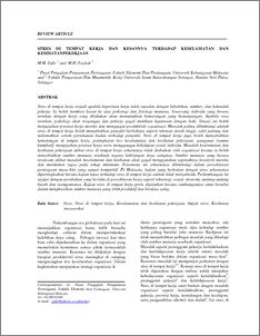 Stres Di Tempat Kerja Dan Kesannya Terhadap Keselamatan Dan Kesihatan Pekerjaan Ukm Journal Article Repository